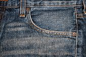 Blue Jeans Fabric With Pocket