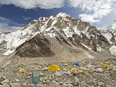 Tents In Everest Base Camp In Cloudy Day, Nepal.