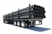 stock photo of truck-cabin  - Truck transporting pipe - JPG
