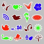 foto of duck egg blue  - 16 colorful spring icons and stickers set eps10 - JPG