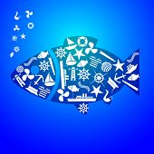nautical icon fish pattern eps10