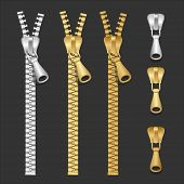 Vector realistic zippers type set