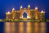DUBAI, UAE - MARCH 31: Atlantis hotel iluminated at night on March 31, 2014 in Dubai, UAE. Atlantis