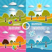 Four Seasons Landscape Backgrounds Vector Illustration