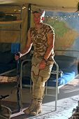 Soldier Resting  In Barracks