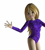 picture of leotards  - Cartoon girl with long hair in violet leotard - JPG