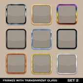 Set Of Colorful App Icon Frames, Templates, Buttons.