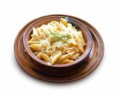 Penne With Chicken Breast And Cheese On A Clay Bowl