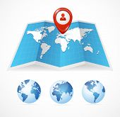 Vector map icon and globe, Pin Pointer