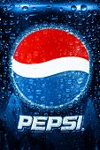MOSCOW, RUSSIA-APRIL 4, 2014: Can of Pepsi cola closeup. Pepsi is a carbonated soft drink that is produced and manufactured by PepsiCo. Created and developed in 1893.