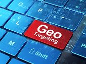 Business concept: Geo Targeting on computer keyboard background