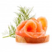 stock photo of canapes  - sandwich or canape with salmon on white background  cutout - JPG