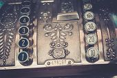 Vintage cash register close-up