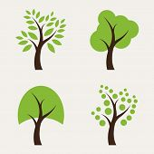 picture of bonsai tree  - Set of tree icons on white background - JPG