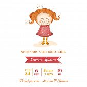 Baby Girl Arrival Card - with Baby Girl - in vector