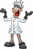 Mad cartoon scientist. Vector clip art illustration with simple gradients.