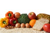 stock photo of healthy food  - variety of fresh healthy foods fruits vegetables whole grains and dairy - JPG
