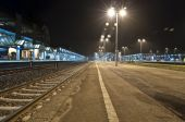 Empty Train station at night