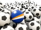 Football With Flag Of Marshall Islands