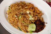 foto of rice noodles  - Stir fried rice noodle on plate (Korat