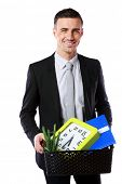 You are fired! Smiling businessman hold box with personal belongings isolated on white background