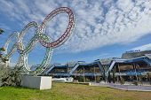 SOCHI, RUSSIA - FEBRUARY 14, 2014: View to airport of Sochi during XXII Winter Olympics. New passeng