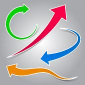 Colorful curved arrow set illustration