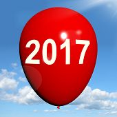 Two Thousand Seventeen On Balloon Shows Year 2017