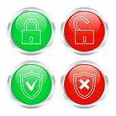 Set Of Protection Buttons. Vector Illustration