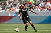 CARSON, CA - APRIL 6: Los Angeles Galaxy D Omar Gonzalez (4) during the MLS game between the Los Ang