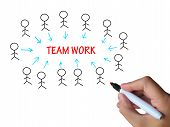 Teamwork Stick Figures Shows Working As Team