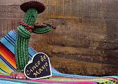 Happy Cinco De Mayo, 5Th May, Party Celebration With With Fun Mexican Cactus And Blackboard Sign Wit