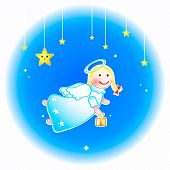 foto of christmas angel  - Christmas angel with special gift at New Year eve - JPG