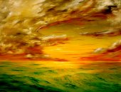 original oil painting of the Beautiful sunset off the coast of california
