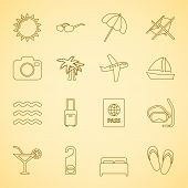 Generic travel iconset, contour flat