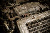 Old Dirty Car Engine