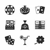 Casino iconset for design, contrast flat