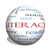 Literacy 3D Sphere Word Cloud Concept