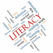 Literacy Word Cloud Concept Angled
