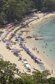 Phuket, Thailand-february 20Th 2014: Tourists At Laem Singh Beach On Phuket. The Beach Is A Favourit