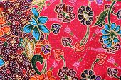 foto of batik  - Close up colorful batik cloth fabric background - JPG