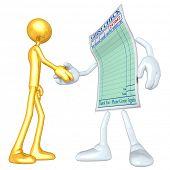 Gold Guy Restaurant Guest Check Handshake