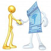 Gold Guy Medical Prescription Handshake