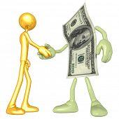 Gold Guy Money Handshake