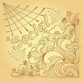Social webs in doodle style on beige background