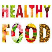 Healthy Food Word Text In Capital Letters On White Background