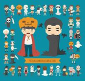 stock photo of halloween characters  - Set of 40 halloween costume characters eps10 vector format - JPG