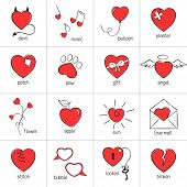 stock photo of broken heart flower  - Set of hand drawn heart icons for romantic design - JPG