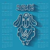 Calendar  Year of Sheep.Cartoon outline sheep