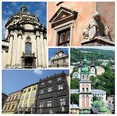 Collage Of Famous Lvov Landmarks (ukraine),old City Center - Unesco Heritage Site